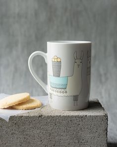 Llamarama Tall Mug - A tall mug is a surefire conversation starter. Three lovely llamas bedecked in woven blankets and beaded necklaces trek through the Peruvian mountains with cargo atop their backs. Woven Blankets, Surefire, Conversation Starters, Beaded Necklaces, Llamas, Trek, Tumbler, Kitchen Dining, Mugs