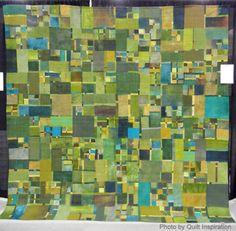 "Green 2, 104 x 104"",  by Eleanor McCain   (Fort Walton Beach, Florida).  2014 AQS - Phoenix, photo by Quilt Inspiration"