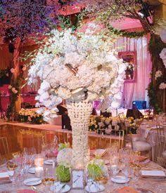 extravagant white wedding centerpiece