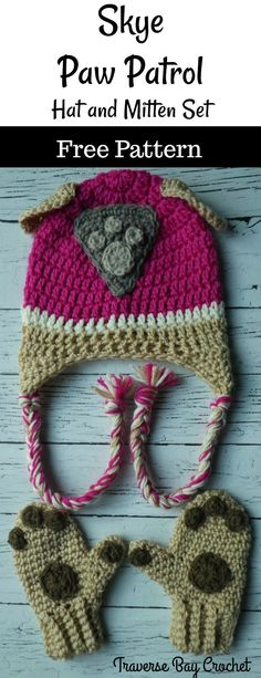 """Skye Paw Patrol Crochet Hat & Mitten Set Have your little pup """"Ready for Action!"""" with this cute crochet hat and mitten set! After making [. Crochet Kids Hats, Crochet Mittens, Crochet Bebe, Mittens Pattern, Beanie Pattern, Crochet Gifts, Hat Crochet, Irish Crochet, Baby Mittens"""
