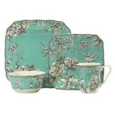 222 Fifth Adelaide Turquoise 16-pc. Square Dinnerware Set. I want this for my future apartment so bad!!