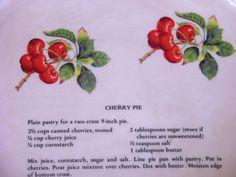 Reserved For Miriam  Vintage CHERRY Pie by vintagefinesandlinen, $21.00