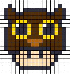 Owl Mushroom perler bead pattern