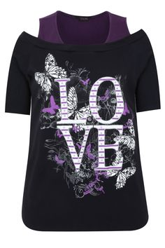 Black And Purple 'Love' Print 2 In 1 Cotton Top