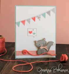 Fancy Friday, July 2016. Foxy Friends stamp set from Stampin' Up! Card created by Jeanna Bohanon