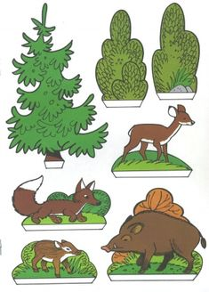 Handicraft sheet: Fix and Foxi Nature Park - Kaukapedia Forest Animals, Woodland Animals, Preschool Activities, Activities For Kids, Illustrated Words, Paper Doll House, Up Book, Autumn Crafts, Vintage Paper Dolls