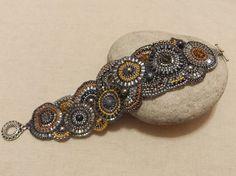 beaded circular brick stitch bracelet yellow grey (ready to ship)