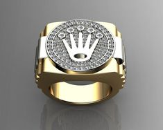 2.00 Ct Diamond Yellow Gold Over Round Pave Engagement Pinky Mens Crown Ring #tvsjewelery #Band