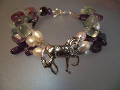 Dressage horse bracelet.  Flourite Amethyst by ForgeHillSculpture, $89.00