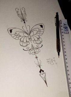 Tattoo borboleta - like the deco on the top and bottom