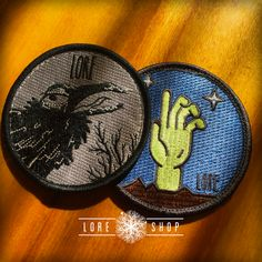 Embroidered Patch 2-Pack : Bird & Hand || Lore Podcast