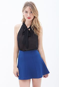 Perfect to go with a pencil skirt!  Tie-Front Chiffon Top | LOVE21 - 2000061373