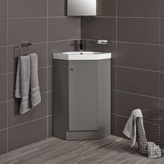 Alpine Duo 420 basin and corner vanity unit - gloss grey   bathstore