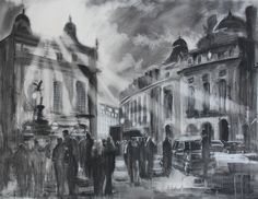 Rays of Eros - Paul Kenton Piccadilly Circus, Cityscape, London Cityscape, Monochrome, Painting, Cityscape Painting, Charcoal Paint, Monochrome Painting, Paul Kenton