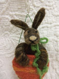 Needle felted bunny rabbit in carrot for Easter or by CurlyFurr, $15.00