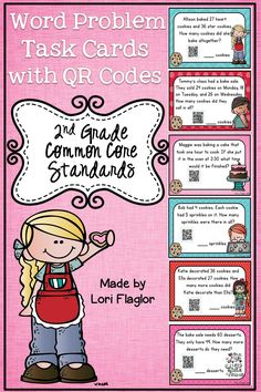 These 24 task cards are perfect if your kiddos need a little extra practice with Math word problems. QR codes included!