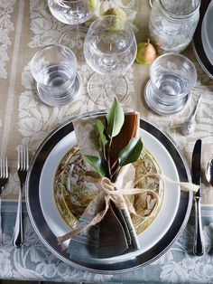 Serene blue place setting