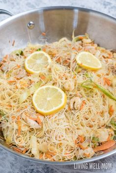 One-Pot Pancit is a quick and easy rice noodle dinner the whole family will love. With chicken, shrimp, and vegetables, this delicious recipe is gluten-free and kid-approved too! Rice Noodle Recipes, Asian Noodle Recipes, Easy Chinese Recipes, Asian Recipes, Beef Recipes, Chicken Recipes, Vegetarian Recipes, Cooking Recipes, Salmon Recipes