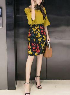 70a070001209d Mujer Trabajo Básico Manga de la llamarada Blusa Estampado Tiro Alto Falda    Verano   manga de la llamarada
