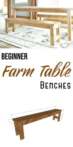 The easiest farmhouse dining benches you can make.  Only two tools, no Kreg Jig required.  Free plans from Ana-White.com.  #anawhite #anawhiteplans #diy #benches #farmhousebenches #beginnerwoodworking