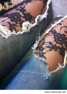 Lace tights underneath ripped jeans