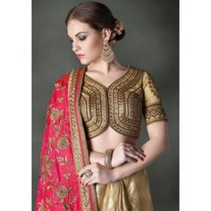 Stunning Beige and Electric Pink Saree