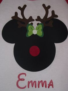 Disney Mickey Minnie Mouse Applique Holiday Santa Rudolph Reindeer T-Shirt Custom Personalized Christmas