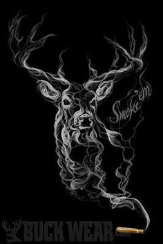 deer pictures with smoke - Yahoo Search Results Deer Hunting Tattoos, Deer Skull Tattoos, Deer Skulls, Body Art Tattoos, Sleeve Tattoos, Cool Tattoos, Tatoos, Western Tattoos, Tattoos Pics