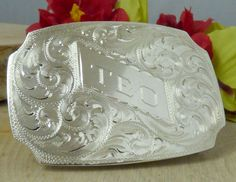 Vintage Sterling Silver Engraved Belt Buckle; Personalized 'Teo'!!