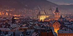 Incredible view over Brasov, at night. The jewel of Transylvania, Romania. Winter Goddess, The Beautiful Country, Winter Is Coming, Hungary, Winter Wonderland, Paris Skyline, Brasov Romania, Transylvania Romania, Journey