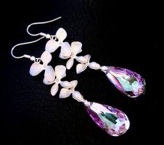 Purple Orchid Earrings Sterling Silver Vitrail Light Wedding Bridal