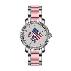 KSD Womens Luxury Unique Zirconia Bezel Stainless SteelPink Ceramic Quartz Wrist Watch United Sates Flag and USA Watches ** For more information, visit image link. (Note:Amazon affiliate link)