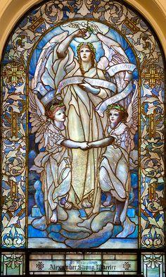 Beautiful stained glass  - Tiffany Glass Window, Upper level, Arlington Street Church, Boston
