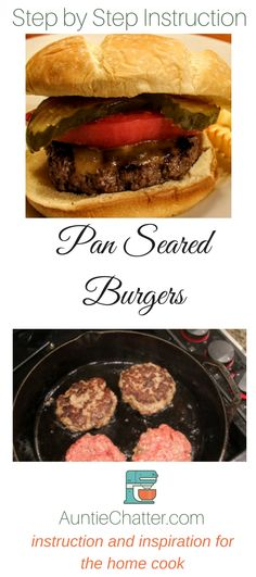 Pan seared burgers are cooked in a cast iron skillet for a beautiful crust and juicy interior. High-end restaurant quality in the comfort of your own home.  via @auntiechatter