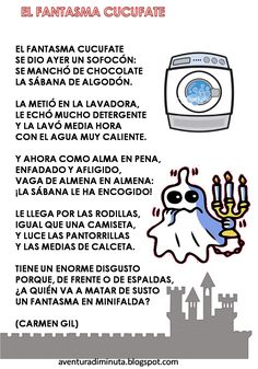 "El fantasma Come-miedos llega a la clase de ""Los Globos"". ¿Qué querrá? Dentro de poco se celebra el Halloween en los países anglosa... Reading Strategies, Reading Activities, Reading Comprehension, Halloween Poems, Halloween Kids, Poetry For Kids, Poetry Unit, Spanish Lesson Plans, Teaching Poetry"