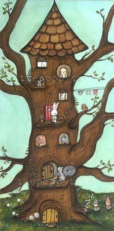 Tree Print Art Squirrel Owl Bird Hedgehog Animal Critter Owl Tree House Home Wall Art 5 x 10 on Etsy Art Fantaisiste, Art Mural, Tree House Drawing, Hedgehog Animal, Art Mignon, Owl Tree, Owl Bird, Bird Art, Tree Print