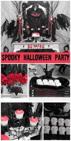 A spooky Halloween dessert table in black, white and red with skeletons, rats and scary cookies and cake!