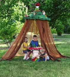 tensil and hoola hoop then plastic bean bag material for top... use coat hangers attached to hoola hoop and to a top ring, then cover with the plastic type material.... cute outdoor tee pee, camping space, ect...