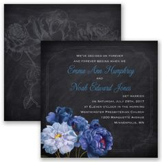 Rose Wedding Invitation - Horizon Blue - Chalkboard, two-sided, black at Invitations By David's Bridal
