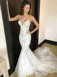 Pallas Couture Jaseena Used Wedding Dress Save Spaghetti Strap Wedding Dress, Sheer Wedding Dress, Wedding Dresses With Straps, Wedding Dresses 2018, Tulle Wedding, White Wedding Dresses, Mermaid Wedding, Bridal Dresses, Spaghetti Straps