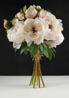 For a beautiful, rich bouquet that will last beyond your special day, carry the silk peony bouquet with cream flowers, delicately touched with pink. The clutch bouquet features 8 open flowers and measures tall and wide. Silk Peonies, Peonies Bouquet, Cream Flowers, Silk Flowers, Flower Bouquet Wedding, Floral Wedding, Bride Bouquets, Faux Flower Arrangements, Peony Arrangement
