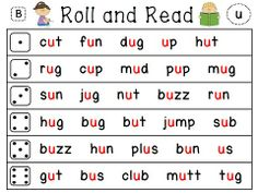 """Roll and Read Phonics Literacy Stations for the entire year! THREE levels (below level, on level, above level) - so easy to differentiate! & they all come with sound in """"helper red"""" or with the words all black. There's also a version with sentences! Reading Fluency Games, Reading Stations, Fluency Practice, Literacy Stations, Reading Worksheets, Shapes Worksheets, Phonics Words, Cvc Words, Kindergarten Reading"""