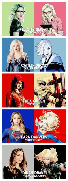 DCTV Queens | Felicity Smoak #Overwatch | Caitlin Snow #KillerFrost | Thea Queen #Speedy | Kara Danvers #Supergirl | Dinah Drake #Blackcanary