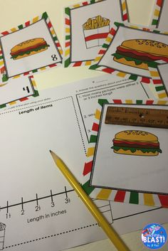 Line Plot math station for the year! Bundle of 20 sets of task cards for measuring length to nearest half or quarter inch, creating a line plot, and interpreting the data. The same tasks for each month, so once your students become familiar with the tasks, the station practically runs itself for the rest of the year!