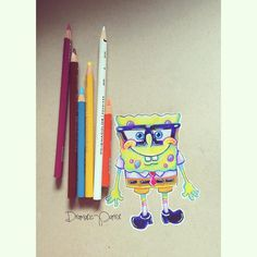 "Priscilla Schacht on Instagram: ""Forever my favorite nerd😍 I adore SpongeBob, sorry I'm not sorry. 🤗 #doodle #art #coloredpencils #spongebobsquarepants #nickelodeon…"" Disney Character Drawings, Disney Drawings, Disney Characters, Realistic Drawings, Cool Drawings, Pencil Drawings, Pencil Drawing Tutorials, Drawing Ideas, Weed Art"