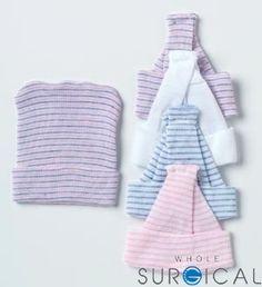 Albahealth - 80015 - Single-Ply Infant Cap, White, Pink, Blue Stripe, Bulk, 500/cs