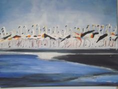 ~ Flamingo Rendezvous, acrylic on canvas, 16x20 ~