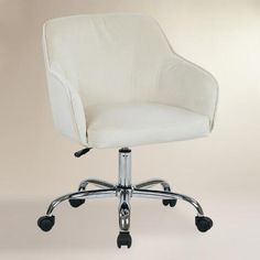 Oyster Beige Velvet Jozy Home Office Chair | World Market  $199.99