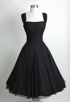 Ruched Chiffon 1950's Dress