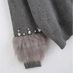 ニット・セーター 3784 オシャレで可愛いセーター エコファー付き(3)